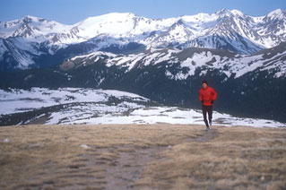 Ivo Kytka running the Ute Pack Trail. Rocky Mountain National Park, Colorado.