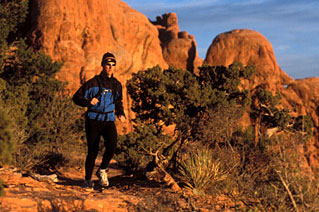 Chad Zummach on the Primitive Trail near the Windows. Arches National Park, Utah.